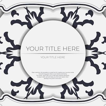 Cartoline di preparazione di colore chiaro vettoriale vintage con ornamento astratto. modello per biglietto d'invito stampabile di design con motivi mandala.