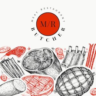 Modello di disegno di prodotti a base di carne di vettore dell'annata.