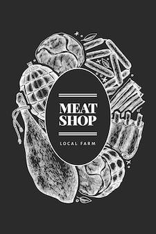 Progettazione di prodotti a base di carne vintage vettoriale