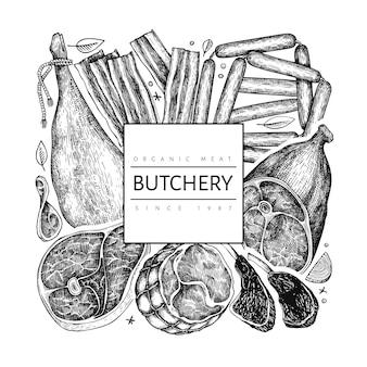Progettazione di prodotti a base di carne vettoriale vintage