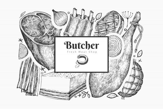 Modello di prodotti a base di carne vintage vettoriale.