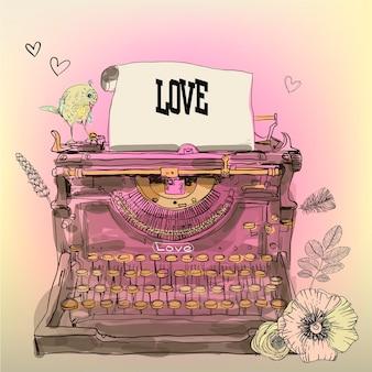 Macchina da scrivere vintage vettoriale con fiori e uccelli