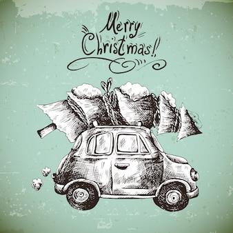 Cartolina d'auguri di inverno di vettore dell'annata con la retro automobile