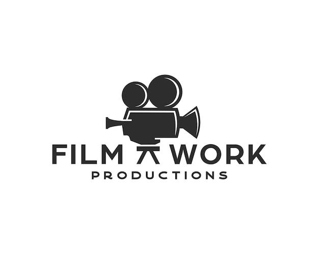 Design vintage del logo della videocamera per la produzione di film o cinema