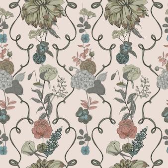 Sfondo di tappezzeria vintage. motivo floreale senza soluzione di continuità con fiori. illustrazione colorata.
