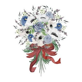 Illustrazione dell'acquerello blu e bianco del mazzo del fiore dell'annata