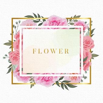 Modello di cornice fiore acquerello vintage