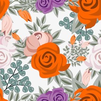 Reticolo senza giunte dell'ornamento del fiore dell'acquerello dell'annata