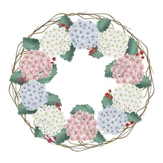 Fiore di ortensia dell'acquerello dell'annata e cornice del cerchio corona di foglie verdi