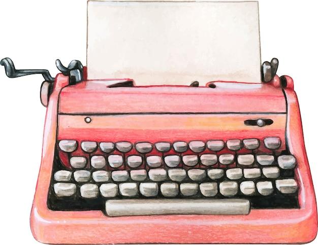 Foglio bianco della macchina da scrivere rosa dell'acquerello dell'annata