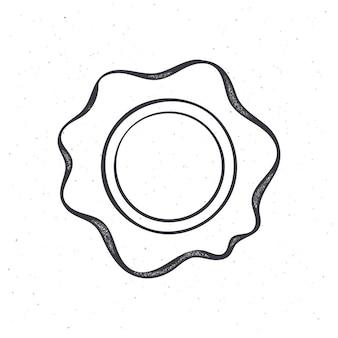 Sigillo di cera d'epoca contorno timbro di sicurezza per posta retrò illustrazione vettoriale disegnato a mano