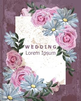 Cornice da sposa vintage con fiori margherita e rosa