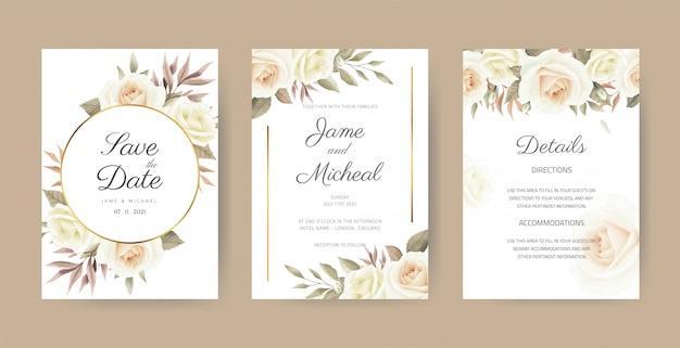 Set di carte invito matrimonio vintage. elegante bouquet di fiori. una rosa bianca dipinta con foglie di eucalipto acquerello con una cornice dorata.