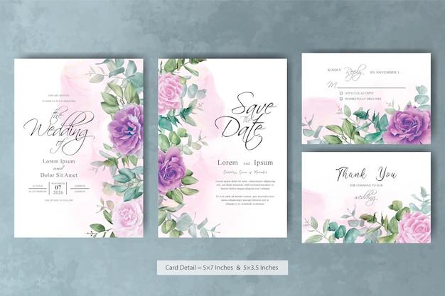 Modello di biglietto d'invito per matrimonio vintage con sfondo floreale e inchiostro alcolico