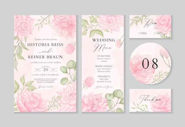 Modello di invito matrimonio vintage impostato con decorazione floreale dell'acquerello