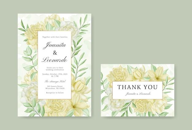 Modello di invito a nozze vintage con fiori e foglie ad acquerello