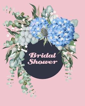 Invito a nozze vintage con fiori e vegetazione molto dettagliati