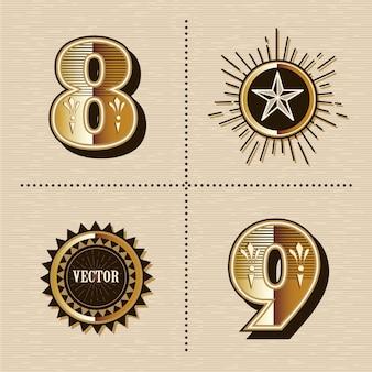 Carattere di lettere alfabeto vintage numeri occidentali