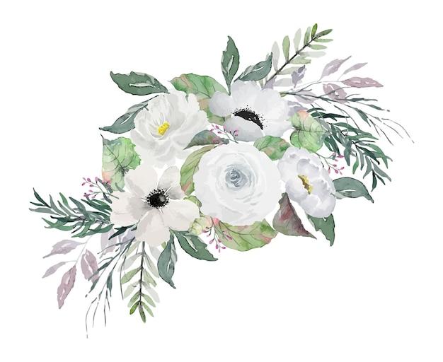 Bouquet di fiori bianchi vintage con foglie verdi pittura illustrazione ad acquerello