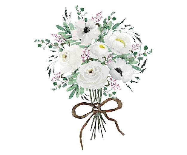 Bouquet di fiori bianchi vintage con foglie verdi che dipingono acquerello
