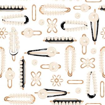 Perla bianca vintage e glod tornante stile retrò eleganza modello senza cuciture nel disegno vettoriale per moda, tessuto, avvolgimento, web e tutte le stampe