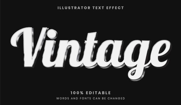 Stile del carattere effetto testo modificabile bianco e argento vintage