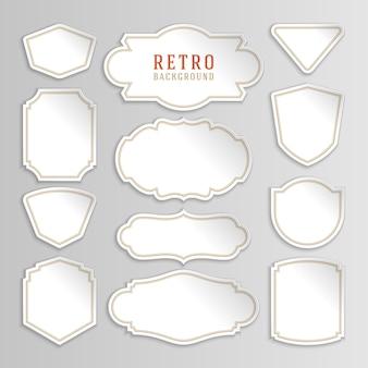 Etichette e adesivi bianchi vintage con cornici.