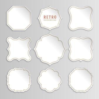 Etichette e adesivi bianchi vintage con cornici Vettore Premium