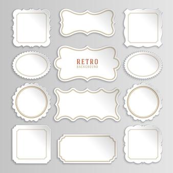 Etichette e adesivi bianchi vintage con cornici