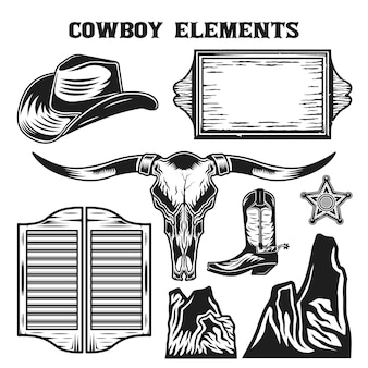 Insieme di raccolta di elementi vintage cowboy selvaggio west