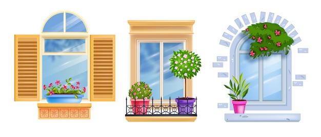 Collezione di infissi vintage, davanzale, vetro isolato su bianco, piante da appartamento, albero, bocciolo di rosa.