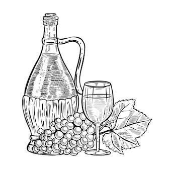 Bottiglia di vino vintage con uva e bicchiere di vino. elementi per menu, poster, carta. illustrazione