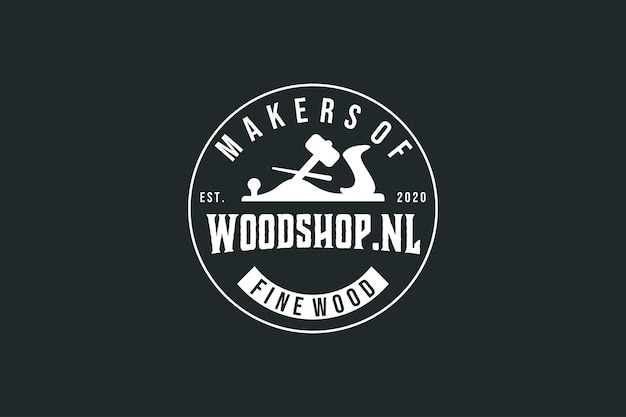 Etichetta vintage con logo del negozio di legno vintage