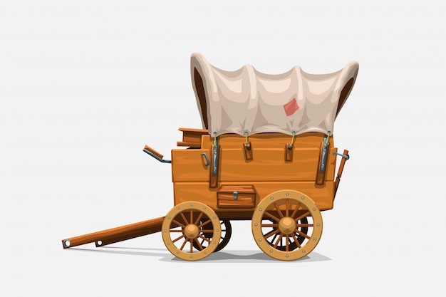 Vagone di legno d'annata su bianco