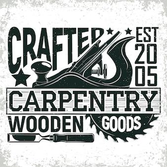 Logo vintage per la lavorazione del legno, timbro di stampa grange, emblema di tipografia di falegnameria creativa,