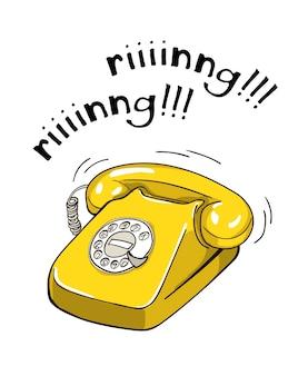 Illustrazione disegnata a mano del telefono giallo d'annata.