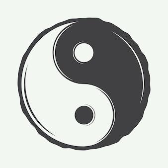 Simbolo vintage yin yang in stile retrò può essere utilizzato per i distintivi degli emblemi del logo delle arti marziali