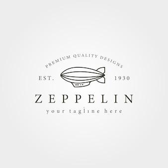 Design vintage dell'illustrazione del logo dell'icona della linea del dirigibile zeppelin