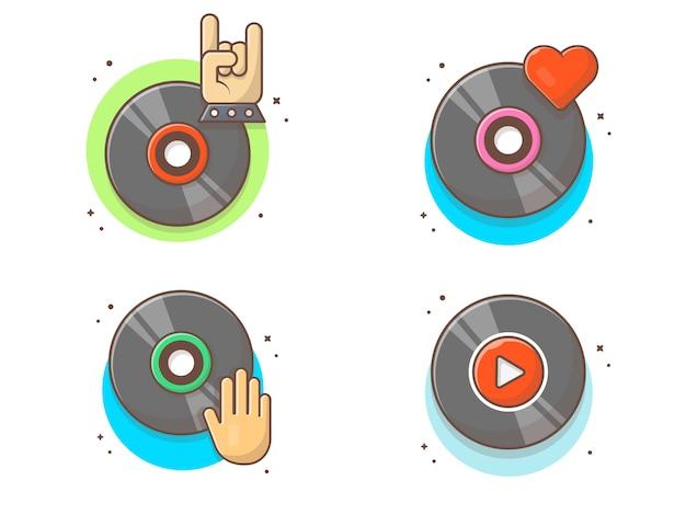 Collezioni di musica su disco in vinile. bianco d'annata del record di musica del vinile isolato