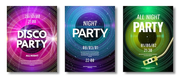 Set di volantini in vinile. volantino di design retrò in vinile per festival di musica o festa in discoteca di dj night club