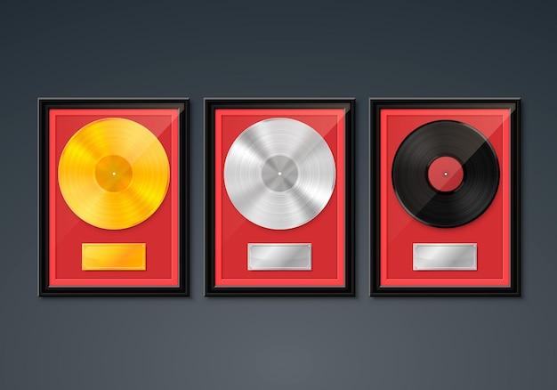 Vinile in cornice sulla parete, disco golden platinum hit collection, elemento di design del modello, illustrazione vettoriale