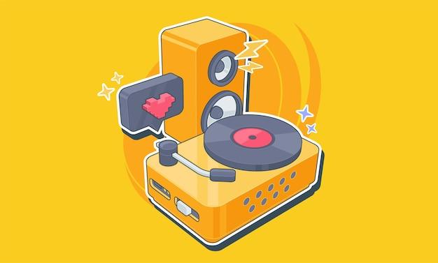Giocatore di vinile con un disco di vinile nello stile dell'illustrazione della piattaforma del dj di pop art