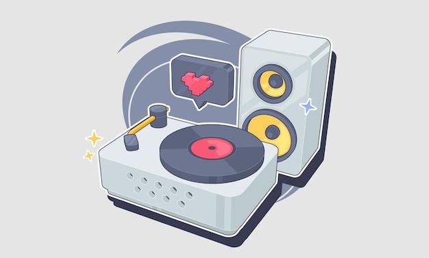 Lettore in vinile con un disco in vinile nello stile del deck dj pop art