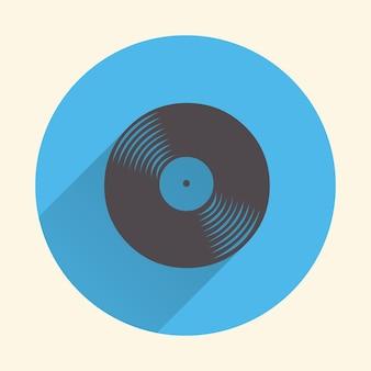 Illustrazione dell'icona di dischi in vinile, motivo musicale. cover creativa e di lusso