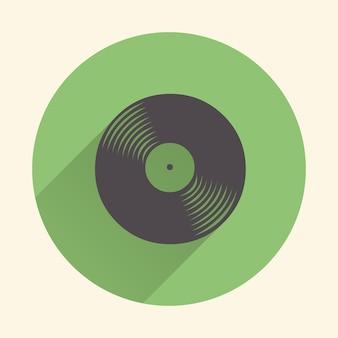 Illustrazione dell'icona di dischi in vinile, motivo musicale. illustrazione in stile retrò e di lusso