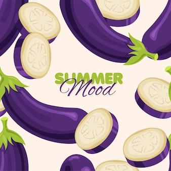 Modello senza cuciture di melanzane viola summer