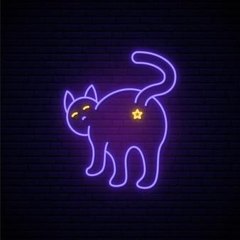 Insegna al neon viola del gatto