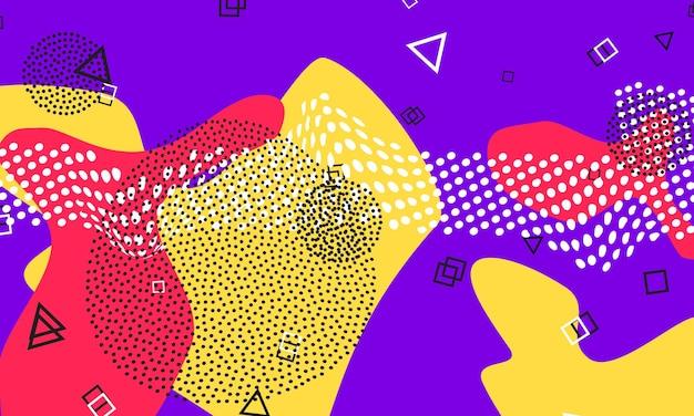 Design fluido rosso viola. volantino carino viola. poster di colori splash. elementi liquidi rossi, gialli. modello carino funky.
