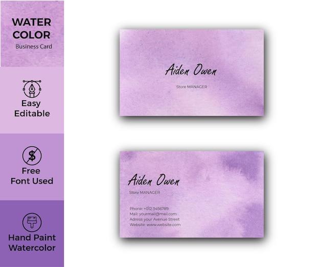 Modello di biglietto da visita aziendale dell'acquerello viola