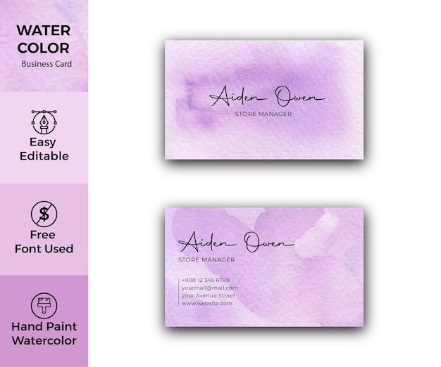 Biglietto da visita aziendale di struttura dell'acquerello viola